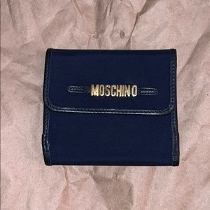 Moschino Redwall Navy Blue Nylon & Leather Wallet
